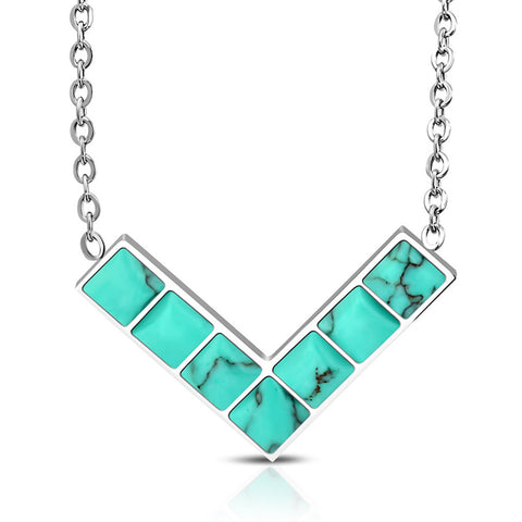 Stainless Steel Minimalist V Triangle Square Turquoise Stone Charm Link Chain Necklace - Comfort Zone Studios