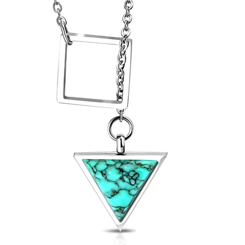 Stainless Steel Interlocking Square Triangle Turquoise Stone Charm Link Chain Necklace - Comfort Zone Studios