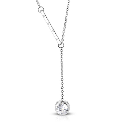 Stainless Steel Screw Bar Cubic Zirconia Circle Charm Y Necklace Pendant Chain - Comfort Zone Studios
