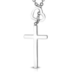 Stainless Steel Interlocking Open Love Heart Minimalist Cross Charm Link Chain Necklace Pendant - Comfort Zone Studios