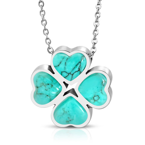 Stainless Steel Four Leaf Clover Shamrock Love Heart Turquoise Stone Floral Charm Chain Necklace Pendant - Comfort Zone Studios