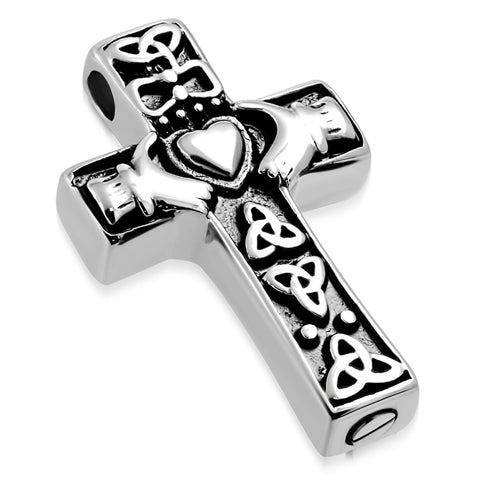 Stainless Steel Claddagh Trinity Cross Prayer Cremation Keepsake Pendant Necklace - Comfort Zone Studios