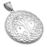 Stainless Steel Cut-Out Bodhi Tree of Life Celtic Knot Medallion Round Circle Pendant Necklace - Comfort Zone Studios