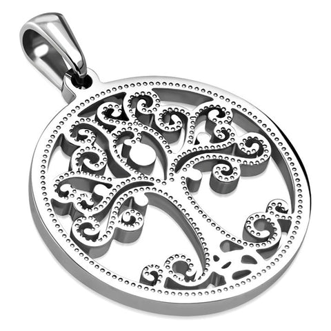 Stainless Steel Tree of Life Celtic Spiral Cut-Out Circle Round Charm Medallion Pendant Necklace - Comfort Zone Studios
