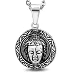 Stainless Steel Buddha Weave Circle Round Charm Buddhist Talisman Medallion Pendant Necklace - Comfort Zone Studios