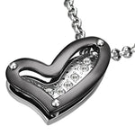Stainless Steel Two-Tone Open Floating Love Heart Cubic Zirconia Charm Screw Pendant Necklace - Comfort Zone Studios