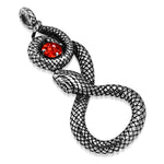 Stainless Steel Antique Vintage Spiral Serpent Loki Snake CZ Biker Necklace Pendant - Comfort Zone Studios