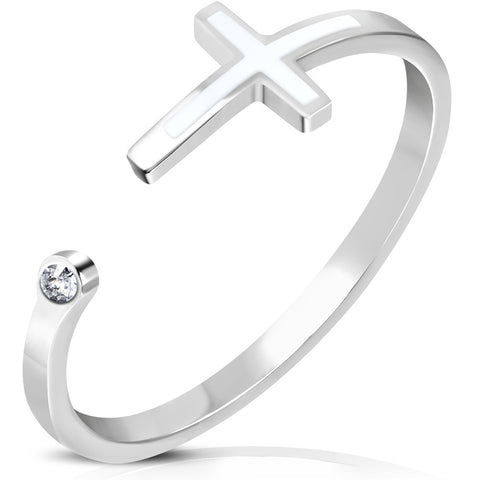 Stainless Steel Clear CZ 2-Tone Classic Cross Open Ring - Comfort Zone Studios