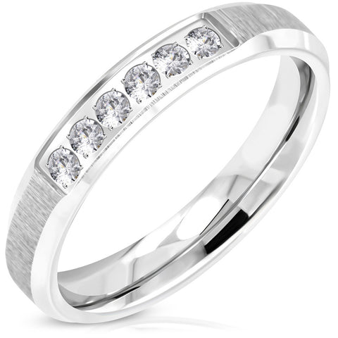 Stainless Steel Contemporary Satin Finish Cubic Zirconia Wedding Band Ring - Comfort Zone Studios