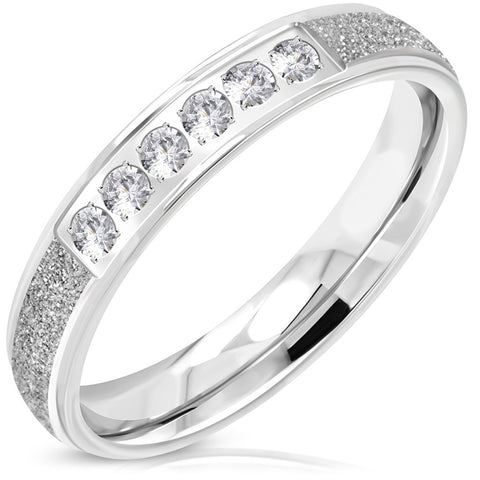 Stainless Steel Contemporary Sandblasted Cubic Zirconia Wedding Band Ring - Comfort Zone Studios