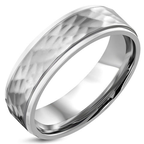 Stainless Steel Hammered Finish Flat Comfort Fit Wedding Band Ring - Comfort Zone Studios