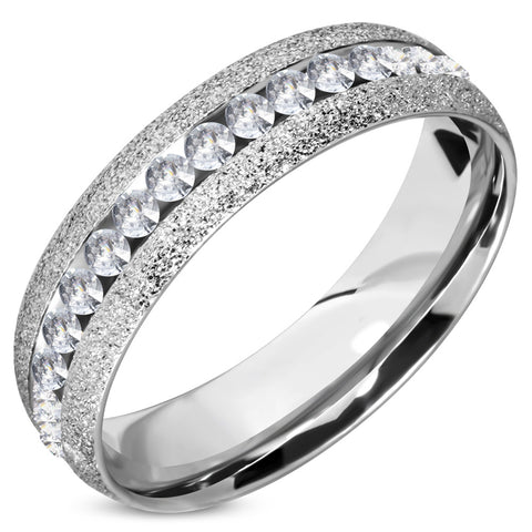 6 MM Stainless Steel Stardust Sandblasted Eternity CZ Comfort Fit Wedding Band Ring - Comfort Zone Studios