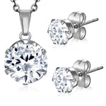 Stainless Steel Prong-Set Cubic Zirconia Round Circle Charm Chain Necklace & Stud Earrings Set - Comfort Zone Studios