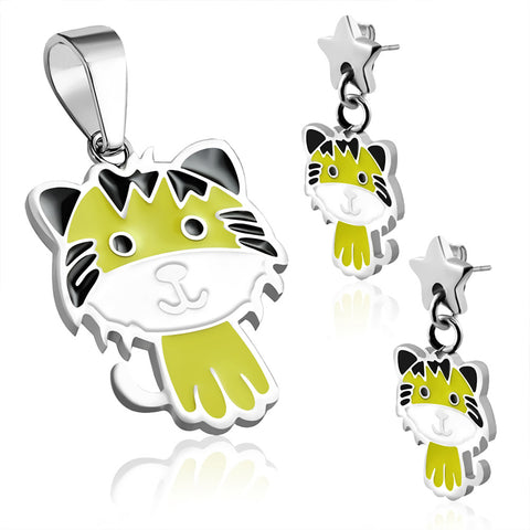 Stainless Steel Enameled Adorable Tiger Cub Pendant Charm & Dangle Drop Earrings Set - Comfort Zone Studios