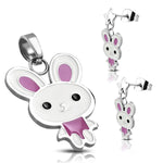 Stainless Steel Enameled Adorable Bunny Rabbit Pendant Charm & Dangle Drop Earrings Set - Comfort Zone Studios