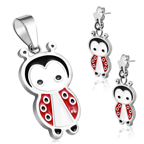 Stainless Steel Enameled Adorable Ladybug Pendant Charm & Dangle Drop Earrings Set - Comfort Zone Studios