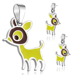 Stainless Steel Enameled Adorable Fawn Deer Pendant Charm & Dangle Drop Earrings Set - Comfort Zone Studios
