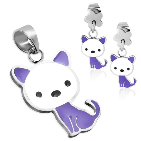 Stainless Steel Enameled Adorable Kitten Cat Pendant Charm & Dangle Drop Earrings Set - Comfort Zone Studios