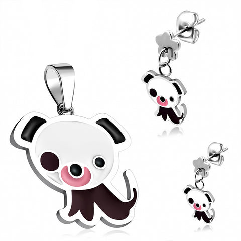 Stainless Steel Enameled Adorable Puppy Dog Pendant Charm & Dangle Drop Earrings Set - Comfort Zone Studios