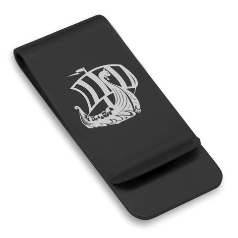 Stainless Steel Viking Ship Classic Slim Money Clip