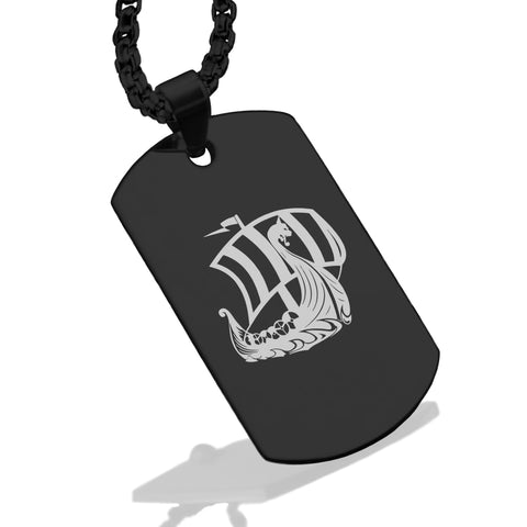 Stainless Steel Viking Ship Dog Tag Pendant - Comfort Zone Studios