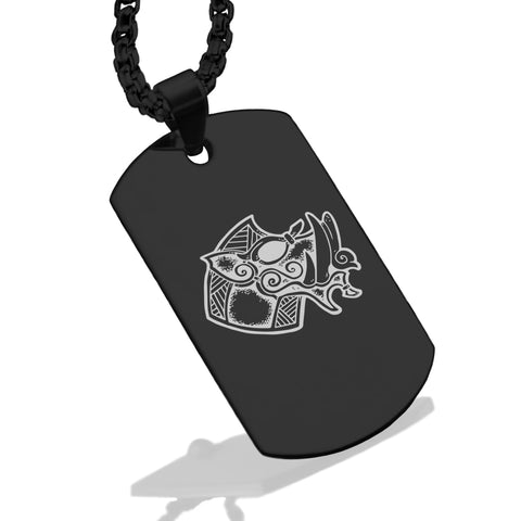 Stainless Steel Viking Battle Boar Dog Tag Pendant - Comfort Zone Studios