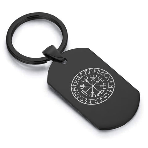 Stainless Steel Viking Vegvisir (Compass) Dog Tag Keychain - Comfort Zone Studios