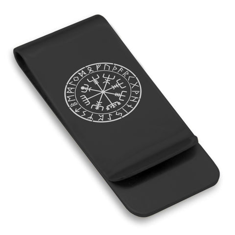 Stainless Steel Viking Vegvisir (Compass) Classic Slim Money Clip