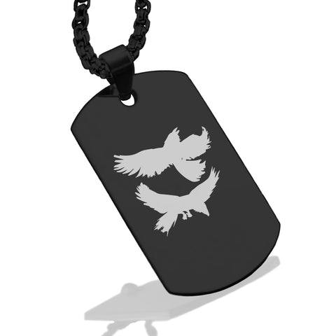 Stainless Steel Viking Odin's Ravens Dog Tag Pendant - Comfort Zone Studios