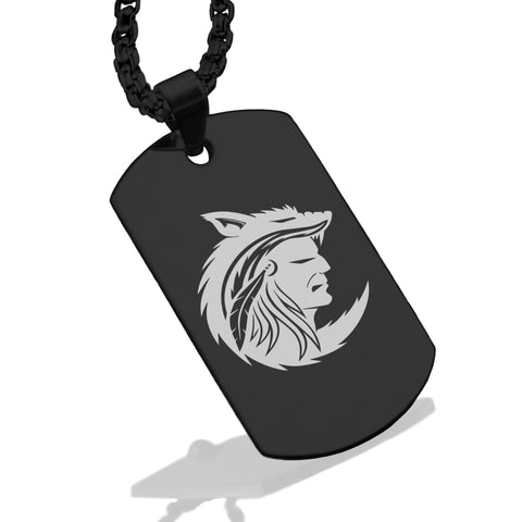 Stainless Steel Apache Warrior Champion Dog Tag Pendant - Comfort Zone Studios