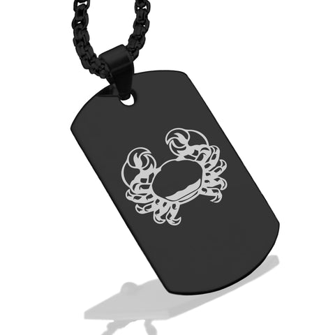 Stainless Steel Cancer Zodiac (Crab) Dog Tag Pendant - Comfort Zone Studios