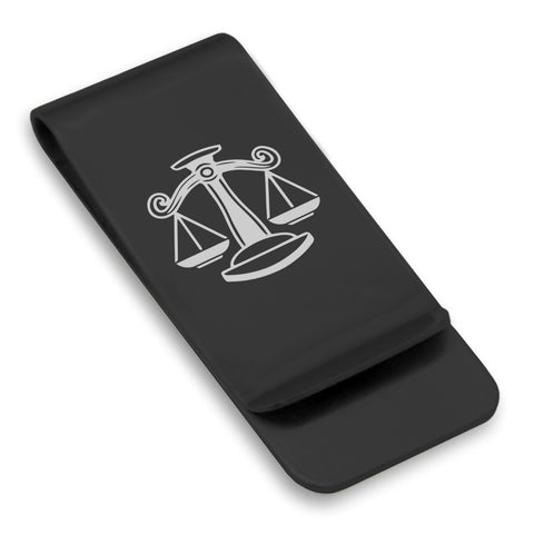 Stainless Steel Libra Zodiac (Scales) Classic Slim Money Clip