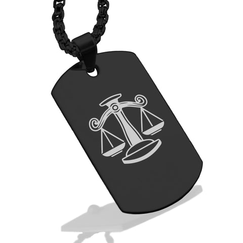 Stainless Steel Libra Zodiac (Scales) Dog Tag Pendant - Comfort Zone Studios