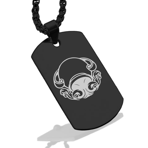 Stainless Steel Aquarius Zodiac (Water Bearer) Dog Tag Pendant - Comfort Zone Studios