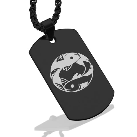 Stainless Steel Pisces Zodiac (Two Fishes) Dog Tag Pendant - Comfort Zone Studios