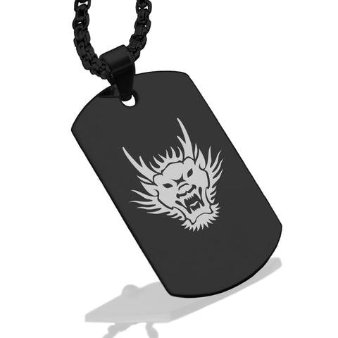 Stainless Steel Year of the Dragon Zodiac Dog Tag Pendant - Comfort Zone Studios