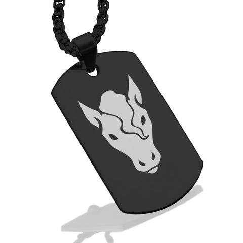 Stainless Steel Year of the Horse Zodiac Dog Tag Pendant - Comfort Zone Studios