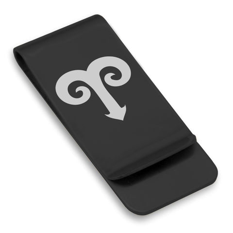 Stainless Steel Astrology Aries (Ram) Sign Classic Slim Money Clip
