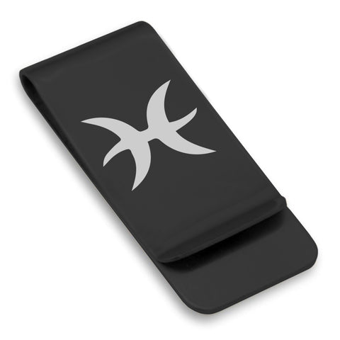 Stainless Steel Astrology Pisces (Two Fishes) Sign Classic Slim Money Clip