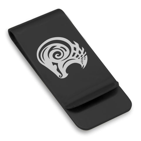 Stainless Steel Tribal Aries Zodiac (Ram) Classic Slim Money Clip