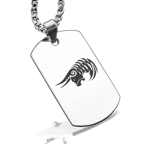 Stainless Steel Tribal Taurus Zodiac (Bull) Dog Tag Pendant - Comfort Zone Studios