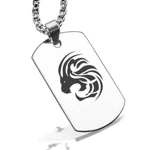 Stainless Steel Tribal Leo Zodiac (Lion) Dog Tag Pendant - Comfort Zone Studios