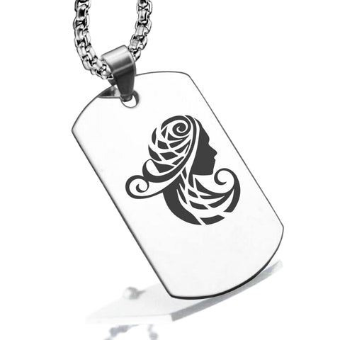 Stainless Steel Tribal Virgo Zodiac (Maiden) Dog Tag Pendant - Comfort Zone Studios