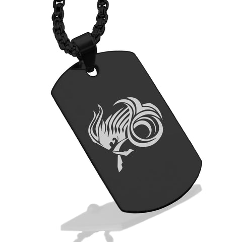 Stainless Steel Tribal Capricorn Zodiac (Sea Goat) Dog Tag Pendant - Comfort Zone Studios