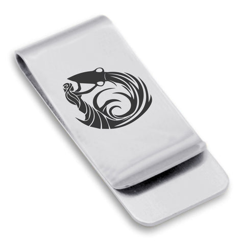 Stainless Steel Tribal Aquarius Zodiac (Water Bearer) Classic Slim Money Clip