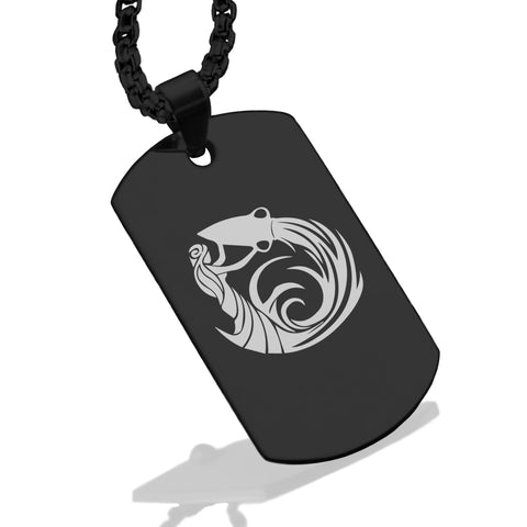 Stainless Steel Tribal Aquarius Zodiac (Water Bearer) Dog Tag Pendant - Comfort Zone Studios