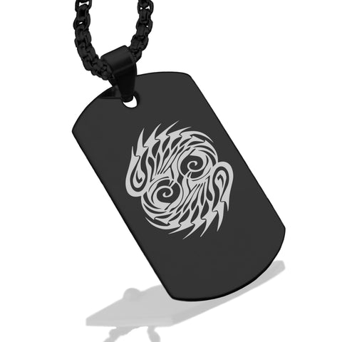 Stainless Steel Tribal Pisces Zodiac (Two Fishes) Dog Tag Pendant - Comfort Zone Studios