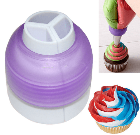 3 Color Cake Decorating Nozzle Converter Tool for Icing and Piping Cream