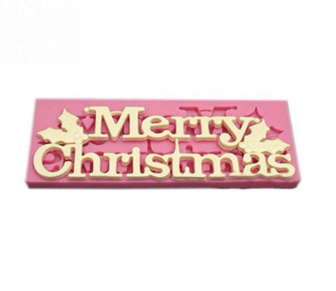"""Merry Christmas"" print with holly leaves silicone fondant icing mold"