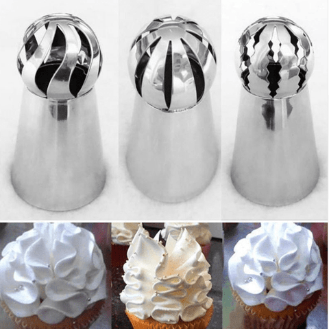 3PC/Set Russian Decorating Nozzle Sphere Ball Shape for Piping Buttercream/cream.